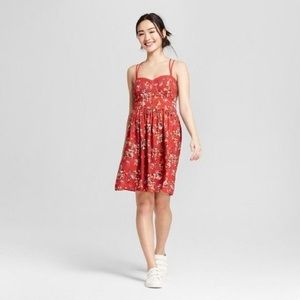 Strait Red Floral Dress Xhilaration Size L
